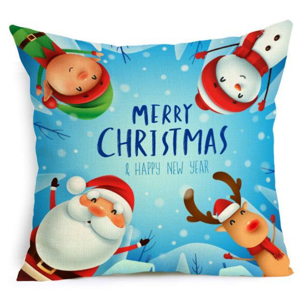 PINkart-USA Online Shopping 43X43cm / 16 Comwarm Square Home Decor Xmas Cushion Cover Cotton Linen Merry Christmas Pillowcase Santa Claus