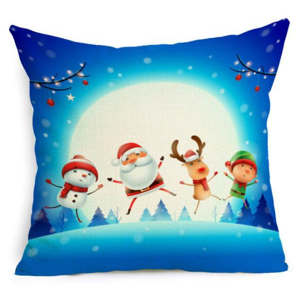 PINkart-USA Online Shopping 43X43cm / 17 Comwarm Square Home Decor Xmas Cushion Cover Cotton Linen Merry Christmas Pillowcase Santa Claus