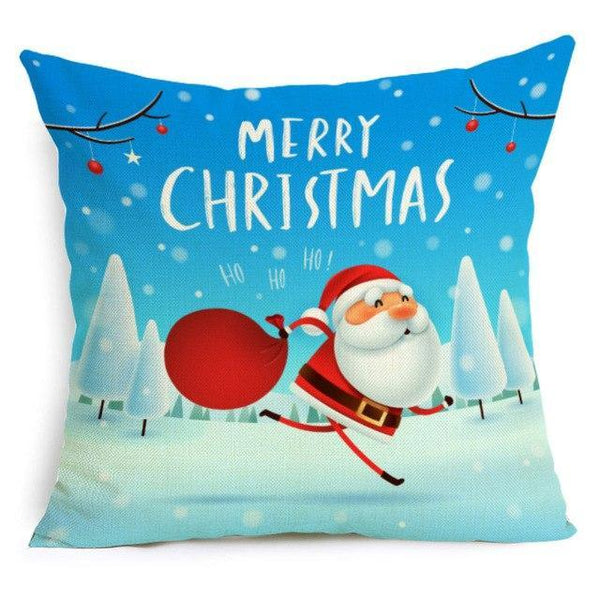PINkart-USA Online Shopping 43X43cm / 18 Comwarm Square Home Decor Xmas Cushion Cover Cotton Linen Merry Christmas Pillowcase Santa Claus