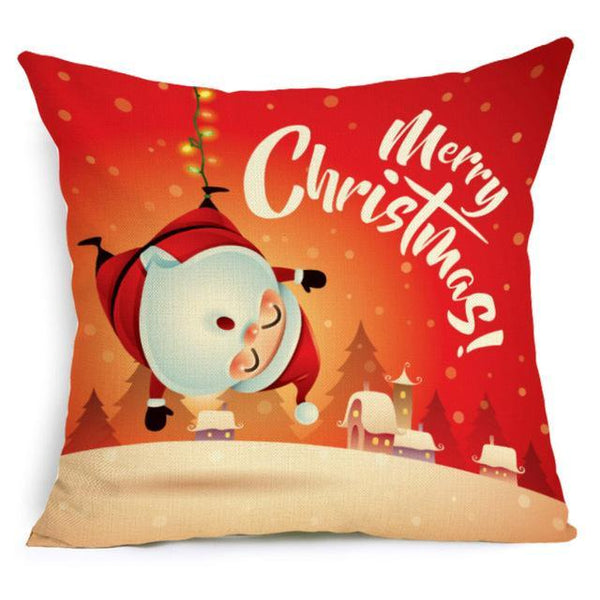 PINkart-USA Online Shopping 43X43cm / 19 Comwarm Square Home Decor Xmas Cushion Cover Cotton Linen Merry Christmas Pillowcase Santa Claus