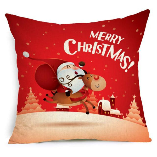 PINkart-USA Online Shopping 43X43cm / 2 Comwarm Square Home Decor Xmas Cushion Cover Cotton Linen Merry Christmas Pillowcase Santa Claus