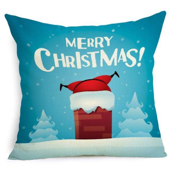PINkart-USA Online Shopping 43X43cm / 20 Comwarm Square Home Decor Xmas Cushion Cover Cotton Linen Merry Christmas Pillowcase Santa Claus