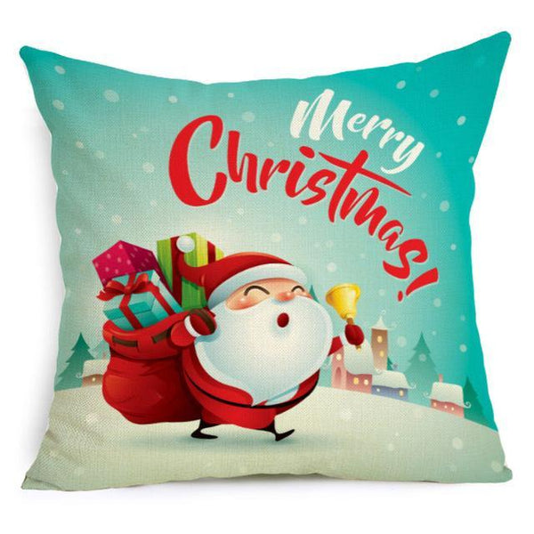 PINkart-USA Online Shopping 43X43cm / 3 Comwarm Square Home Decor Xmas Cushion Cover Cotton Linen Merry Christmas Pillowcase Santa Claus