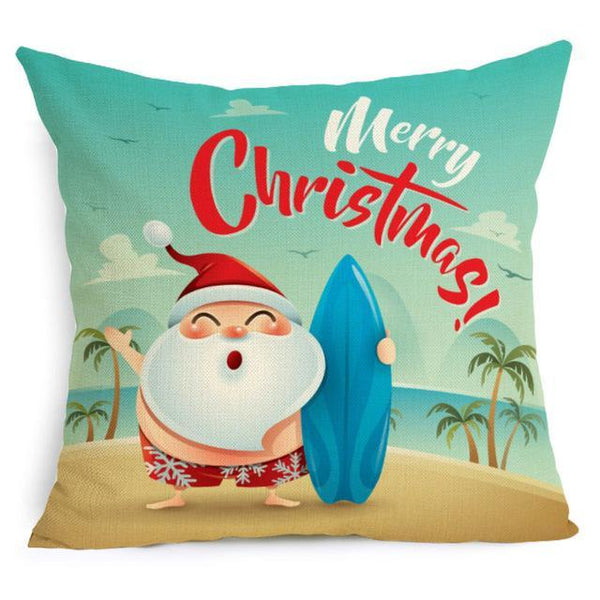 PINkart-USA Online Shopping 43X43cm / 4 Comwarm Square Home Decor Xmas Cushion Cover Cotton Linen Merry Christmas Pillowcase Santa Claus