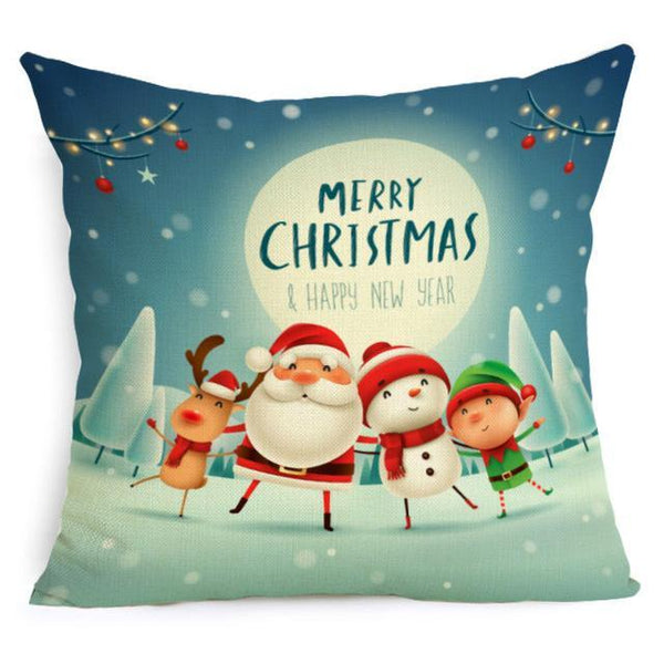 PINkart-USA Online Shopping 43X43cm / 5 Comwarm Square Home Decor Xmas Cushion Cover Cotton Linen Merry Christmas Pillowcase Santa Claus