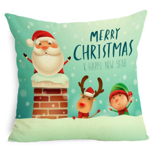PINkart-USA Online Shopping 43X43cm / 6 Comwarm Square Home Decor Xmas Cushion Cover Cotton Linen Merry Christmas Pillowcase Santa Claus