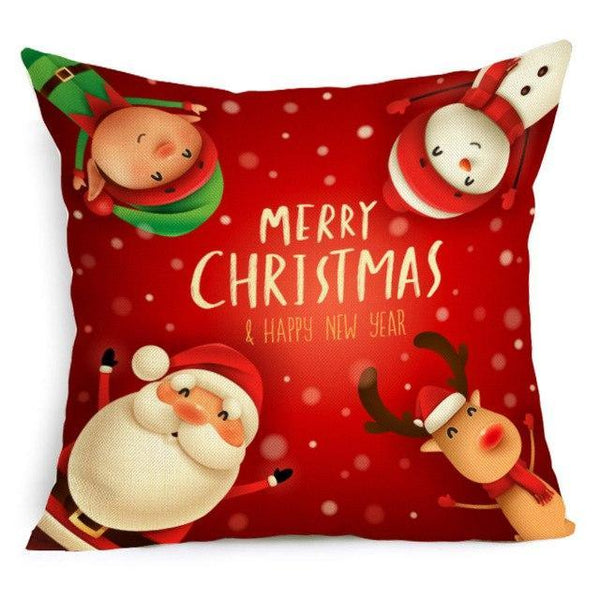 PINkart-USA Online Shopping 43X43cm / 7 Comwarm Square Home Decor Xmas Cushion Cover Cotton Linen Merry Christmas Pillowcase Santa Claus