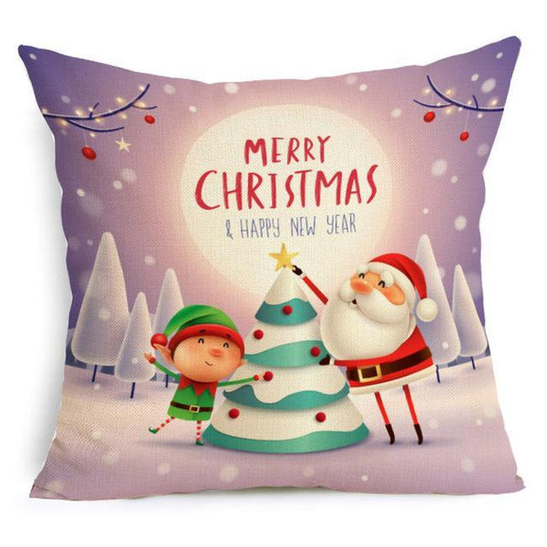 PINkart-USA Online Shopping 43X43cm / 8 Comwarm Square Home Decor Xmas Cushion Cover Cotton Linen Merry Christmas Pillowcase Santa Claus