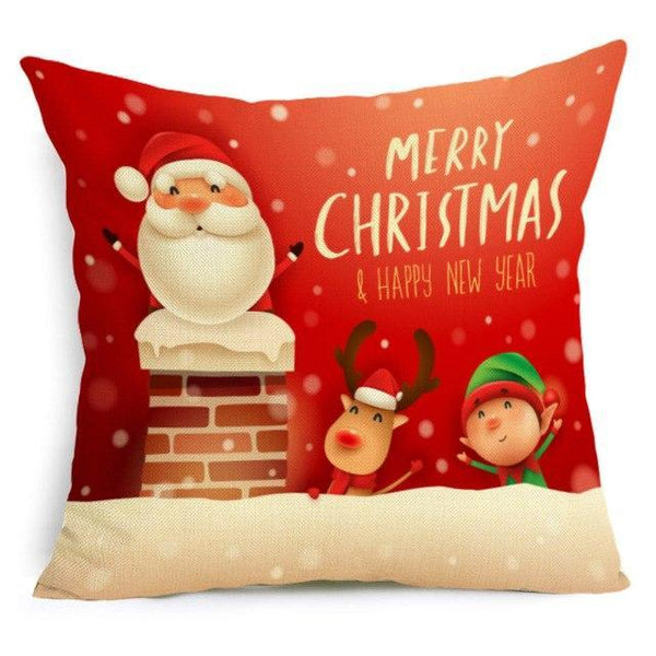 PINkart-USA Online Shopping 43X43cm / 9 Comwarm Square Home Decor Xmas Cushion Cover Cotton Linen Merry Christmas Pillowcase Santa Claus
