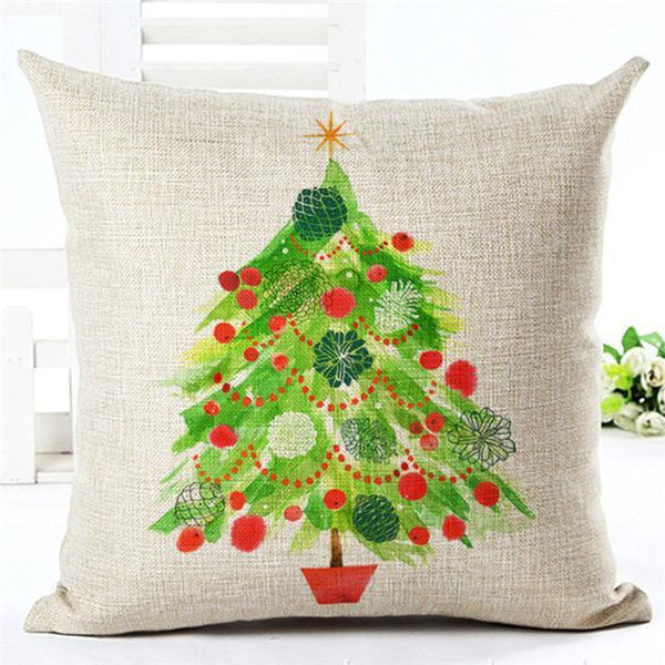 PinKart-USA Online Shopping 450mm*450mm / 1 Merry Christmas Cushion Covers Cotton Linen Printed Decorative Cushion Cover Pattern Throw Pillow