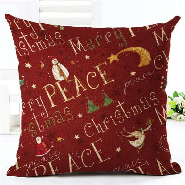 PinKart-USA Online Shopping 450mm*450mm / 11 Merry Christmas Cushion Covers Cotton Linen Printed Decorative Cushion Cover Pattern Throw Pillow