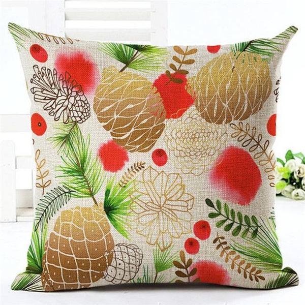 PinKart-USA Online Shopping 450mm*450mm / 12 Merry Christmas Cushion Covers Cotton Linen Printed Decorative Cushion Cover Pattern Throw Pillow