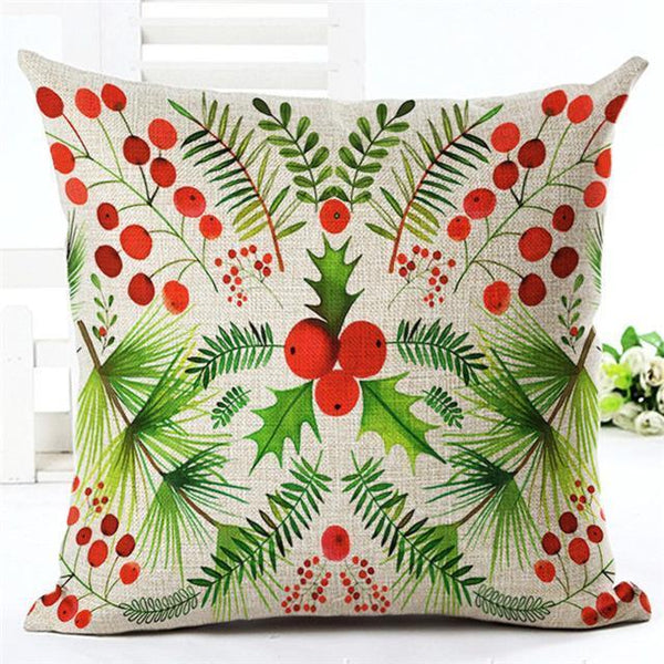 PinKart-USA Online Shopping 450mm*450mm / 13 Merry Christmas Cushion Covers Cotton Linen Printed Decorative Cushion Cover Pattern Throw Pillow