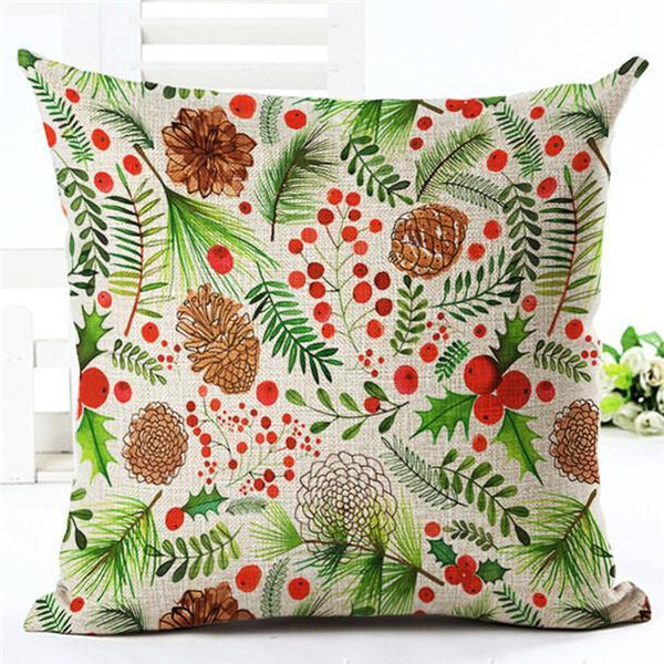 PinKart-USA Online Shopping 450mm*450mm / 14 Merry Christmas Cushion Covers Cotton Linen Printed Decorative Cushion Cover Pattern Throw Pillow