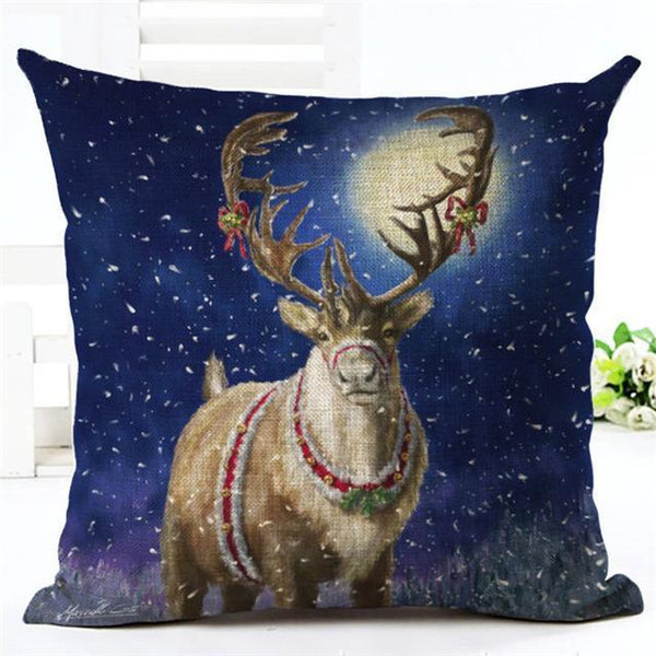 PinKart-USA Online Shopping 450mm*450mm / 16 Merry Christmas Cushion Covers Cotton Linen Printed Decorative Cushion Cover Pattern Throw Pillow