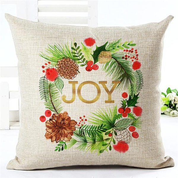 PinKart-USA Online Shopping 450mm*450mm / 2 Merry Christmas Cushion Covers Cotton Linen Printed Decorative Cushion Cover Pattern Throw Pillow