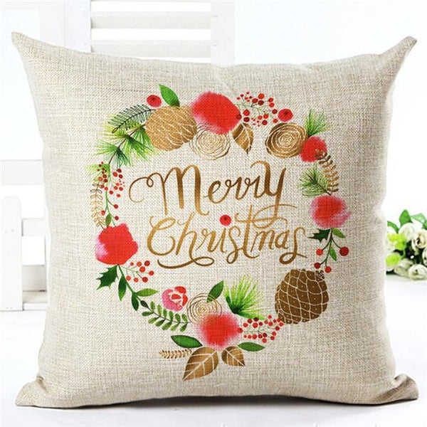PinKart-USA Online Shopping 450mm*450mm / 3 Merry Christmas Cushion Covers Cotton Linen Printed Decorative Cushion Cover Pattern Throw Pillow