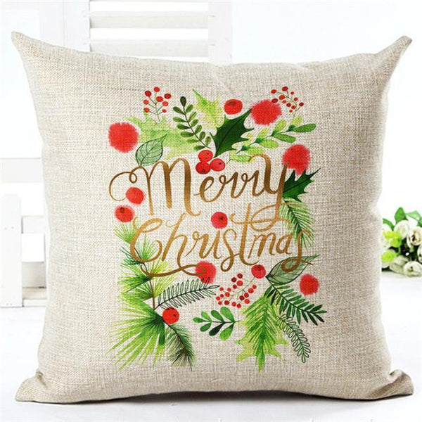 PinKart-USA Online Shopping 450mm*450mm / 4 Merry Christmas Cushion Covers Cotton Linen Printed Decorative Cushion Cover Pattern Throw Pillow