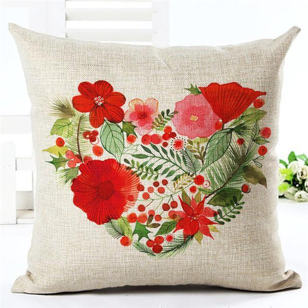 PinKart-USA Online Shopping 450mm*450mm / 5 Merry Christmas Cushion Covers Cotton Linen Printed Decorative Cushion Cover Pattern Throw Pillow