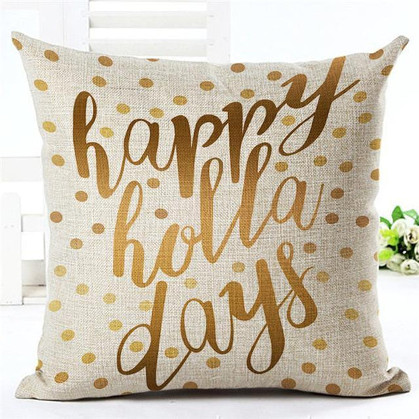 PinKart-USA Online Shopping 450mm*450mm / 6 Merry Christmas Cushion Covers Cotton Linen Printed Decorative Cushion Cover Pattern Throw Pillow