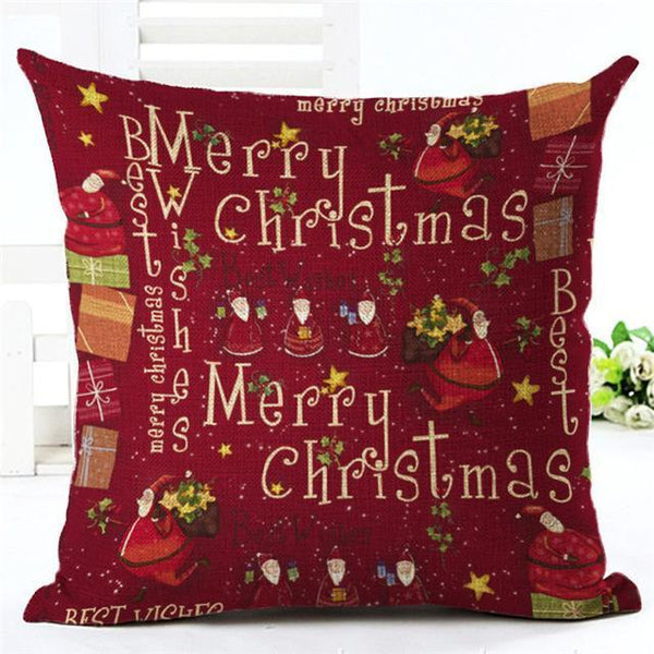 PinKart-USA Online Shopping 450mm*450mm / 8 Merry Christmas Cushion Covers Cotton Linen Printed Decorative Cushion Cover Pattern Throw Pillow