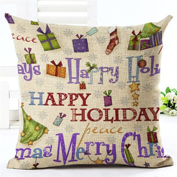 PinKart-USA Online Shopping 450mm*450mm / 9 Merry Christmas Cushion Covers Cotton Linen Printed Decorative Cushion Cover Pattern Throw Pillow