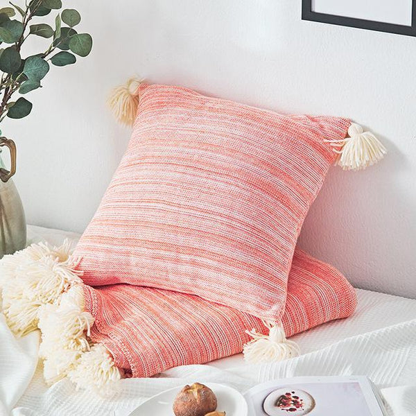 PINkart-USA Online Shopping 450mm*450mm / Pink 100% Cotton Gray Cushion Covers For Adult Square Zipper Handmade Tassel Cushions Without Core Home