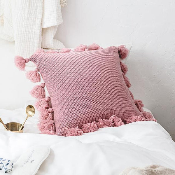 PINkart-USA Online Shopping 450mm*450mm / Pink Pink Decorative Cushion Cover For Sofa Bed 45X45Cm Fashion Knitted Tassel Living Room Cushion