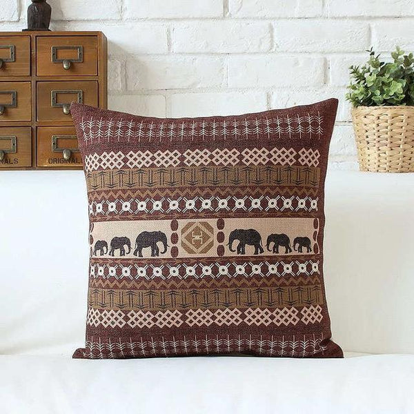PinKart-USA Online Shopping 45x45cm / Style 1 Bohemian Style Cushion Cover Set Passionate Elephant Floral Printed African Style Throw Cushion