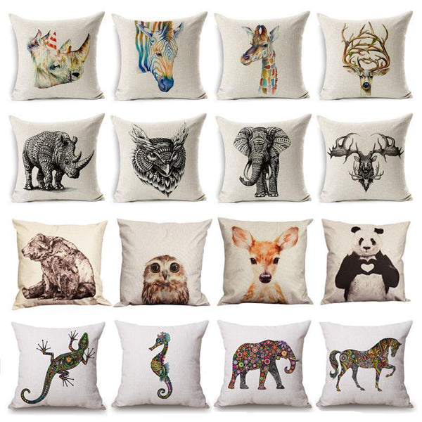PinKart-USA Online Shopping 45x45cm / Style 22 Wild Animal Decorative Cushion Cover 45X45Cm (18X18In) Elephant Owl Elk Square Throw Pillow Cover