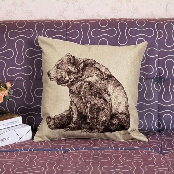 PinKart-USA Online Shopping 45x45cm / Style 5 Wild Animal Decorative Cushion Cover 45X45Cm (18X18In) Elephant Owl Elk Square Throw Pillow Cover