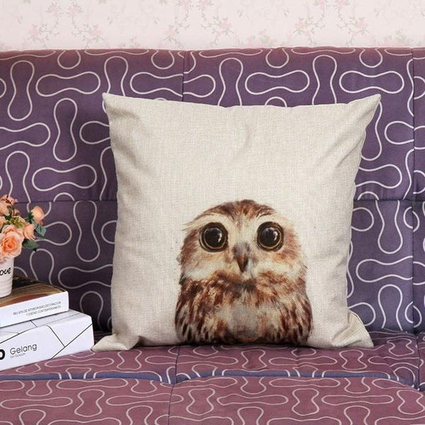 PinKart-USA Online Shopping 45x45cm / Style 6 Wild Animal Decorative Cushion Cover 45X45Cm (18X18In) Elephant Owl Elk Square Throw Pillow Cover