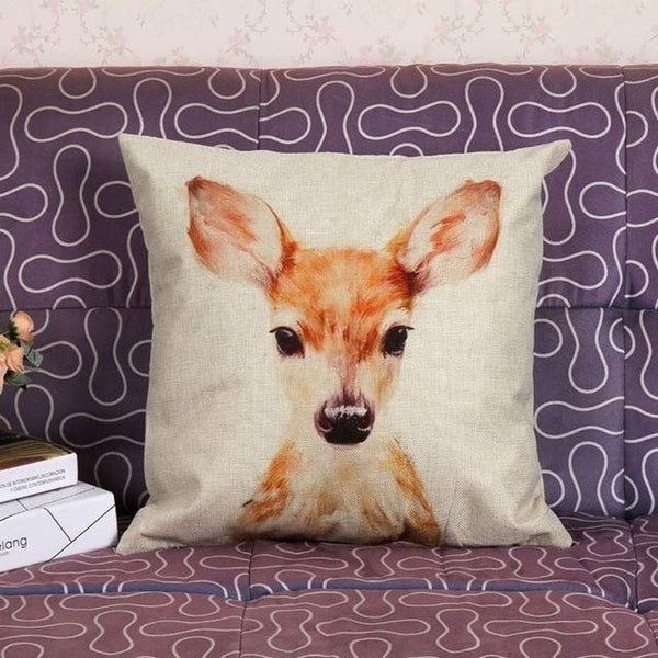 PinKart-USA Online Shopping 45x45cm / Style 8 Wild Animal Decorative Cushion Cover 45X45Cm (18X18In) Elephant Owl Elk Square Throw Pillow Cover