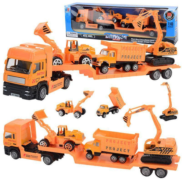 PINkart-USA Online Shopping 4Pcs/Set Big Size Alloy Helicopter Aircraft Engineering Car Tractor Toy Dump Truck Model Classic