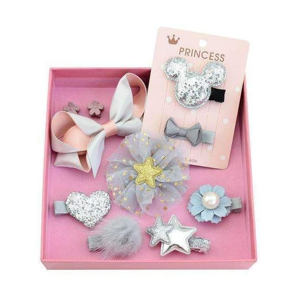 PinKart-USA Online Shopping 4silver 1Set 10Pcs Fashion Different Designs Heart Flower Crown Fur Ball Stars Hair Bows With Clip Bow