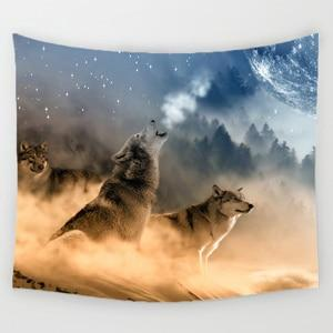PINkart-USA Online Shopping 5 / 150x130cm Comwarm African Animals Pattern Colored Lion Howling Wolf Polyster Tapestry Wall Hanging Beach