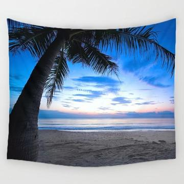 PINkart-USA Online Shopping 5 / 150x130cm Comwarm Cozy Sunset Coastal Natural Scenery Wall Hanging Gobelin Mural Coconut Tree Printed