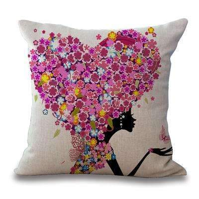 PinKart-USA Online Shopping 5 / 45x45cm Just Cover Square 18 Cotton Linen Decorative Cushions Flower Fairy Bike Butterfly Throw Pillows Sofa Home
