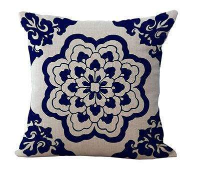 PinKart-USA Online Shopping 5 / 45x45cm Square 18 Linen Cushion Blue And White Porcelain Printed Home Decorative Cushions Almofada For