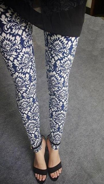 PINkart-USA Online Shopping 5 Blue porcelain / One Size Rose Flower Printed Leggings Fashion Best Quality Women Lady Slim High Elastic Cotton Pants