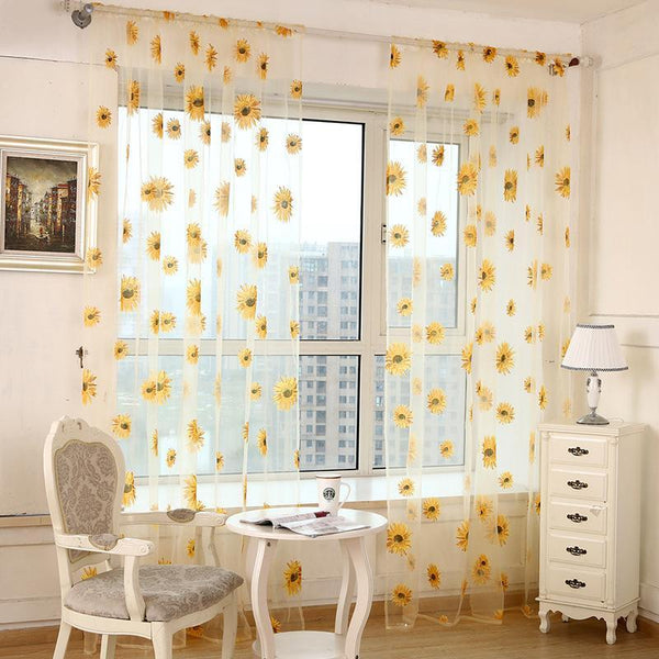 PINkart-USA Online Shopping 5 Colors Green Polyester Curtains Tulle For Living Room Kitchen Sunflowers Printed Translucidus