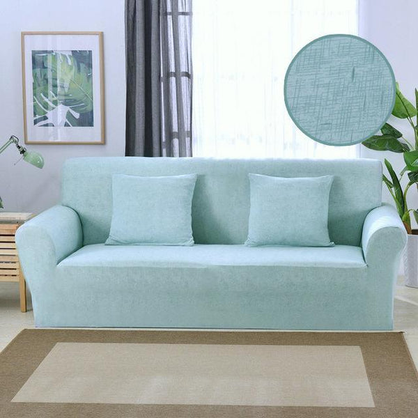 Solid Color Spandex Stretch Sofa Cover Stripe Protective All-Inclusive Slipcovers Removable Elastic