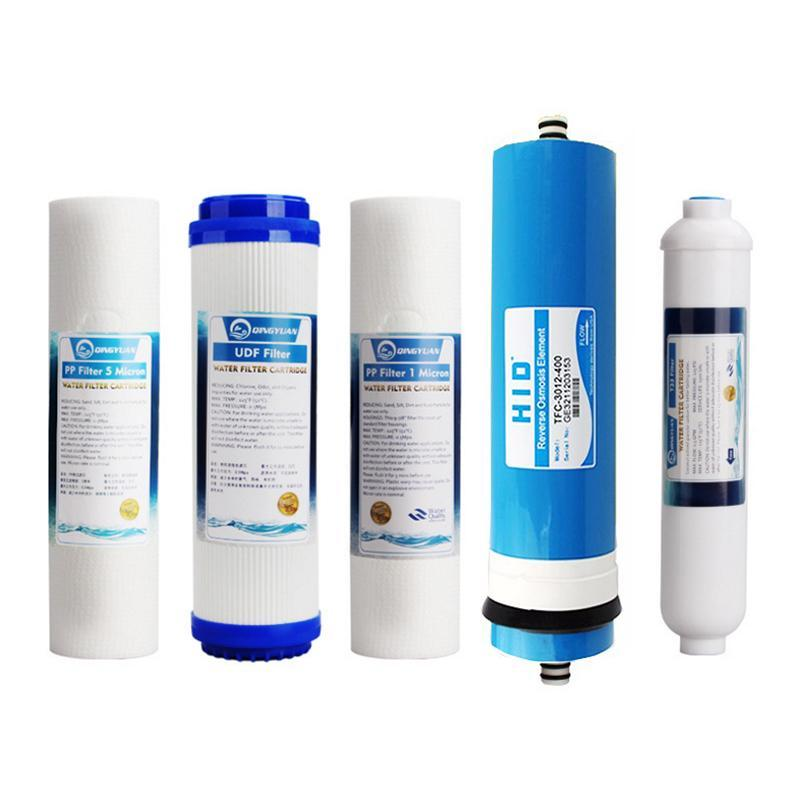 PINkart-USA Online Shopping 5 Levels Reverse Osmosis Pure Water Ro Purifier Filter Element Sets Ro+T33+Udf/Gac+1/5 Micron Ppf