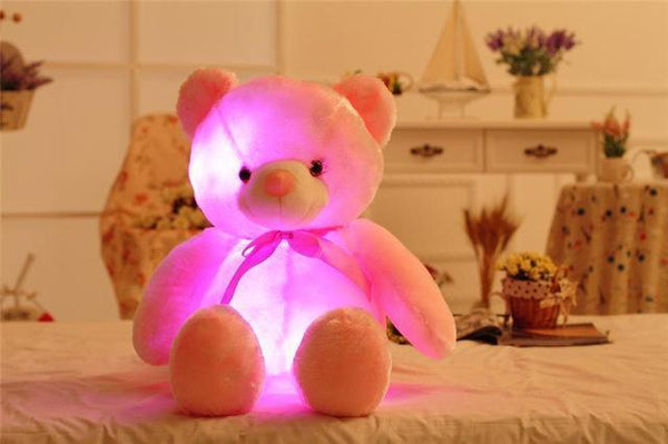 32/50cm Big Colorful Glowing Teddy Bear Luminous Plush Toys Kawaii Light Up Led Teddy Bear - PINkart.in