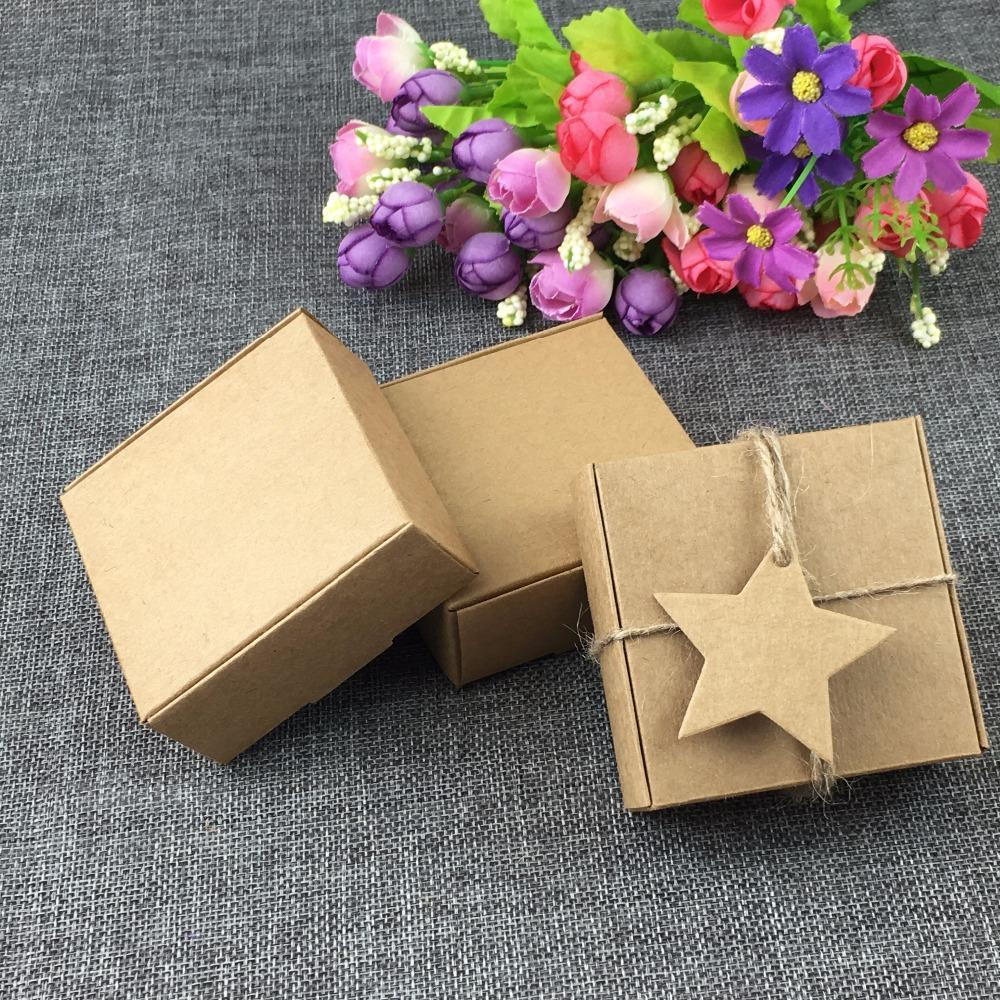 PINkart-USA Online Shopping 50Pc/Lot 6.5*6.5*3Cm Kraft Paper Gift Boxes With Pentagram Tags Jewelry Carry Case Blank Power