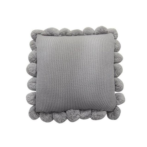 PINkart-USA Online Shopping 50x50cm / Gray Fashion White Polyester Knitting Cushion Cover With Ball Solid Color Handmade Cushions For Sofa