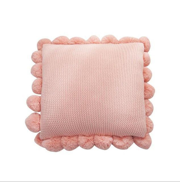 PINkart-USA Online Shopping 50x50cm / Pink Fashion White Polyester Knitting Cushion Cover With Ball Solid Color Handmade Cushions For Sofa