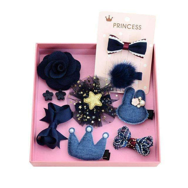 1Set 10Pcs Fashion Different Designs Heart Flower Crown Fur Ball Stars Hair Bows With Clip Bow Online Shopping PINkart.in