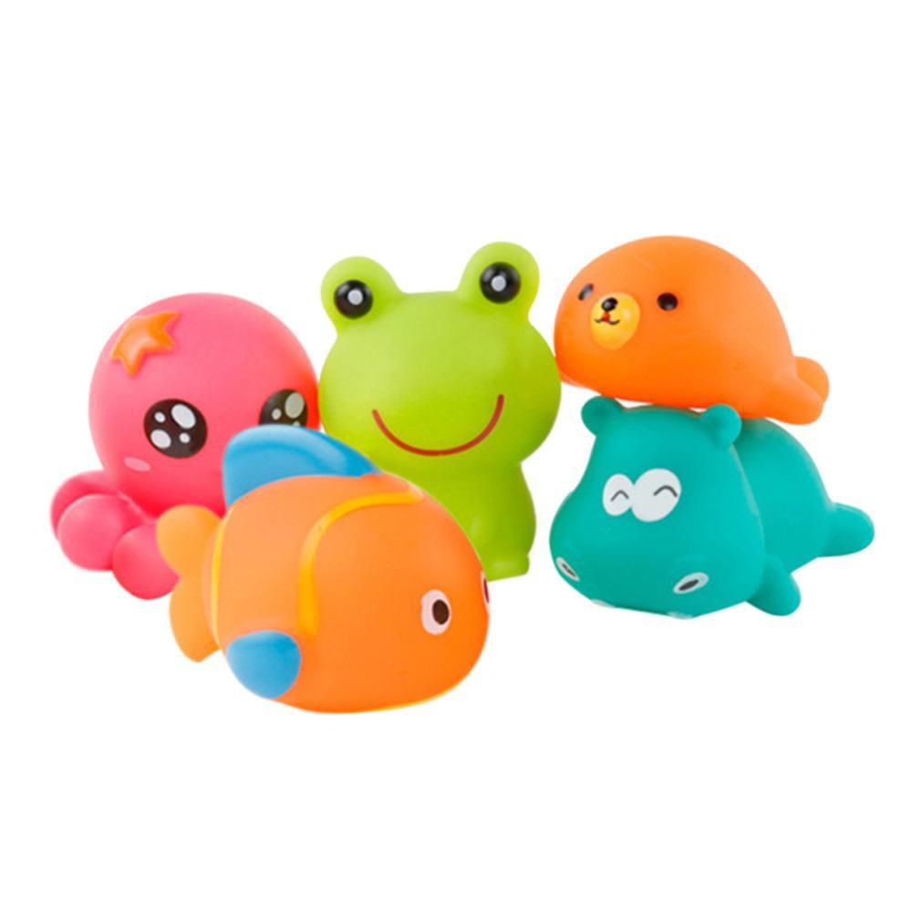 PINkart-USA Online Shopping 5Pcs Cute Animal Baby Bath Toys For Children Pvc Float Squeeze Sound Dabbling Toys Kids Bathing