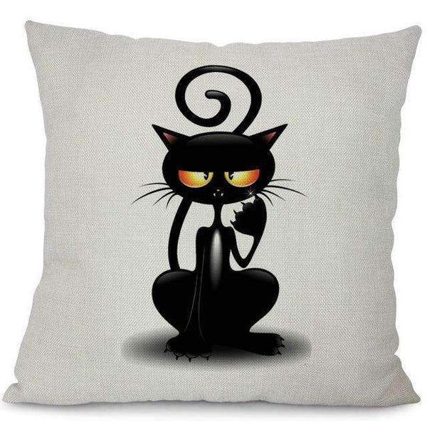 PinKart-USA Online Shopping 6 / 44x44cm No Filling Miracille Square Cotton Linen Black Climbing Cat Animals Printed Decorative Throw Pillows Home Deco